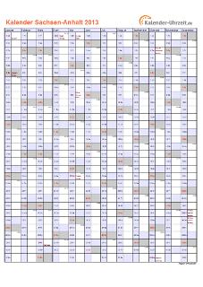 Sachsen-Anhalt Kalender 2013 mit Feiertagen - hoch-einseitig