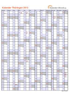 Thüringen Kalender 2013 mit Feiertagen - hoch-einseitig