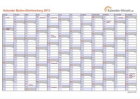 Baden-Württemberg Kalender 2013 mit Feiertagen - quer-einseitig