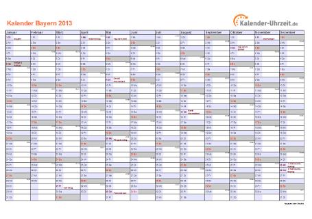 Bayern Kalender 2013 mit Feiertagen - quer-einseitig
