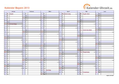 Bayern Kalender 2013 mit Feiertagen - quer-zweiseitig