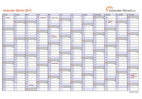 Berlin Kalender 2013 mit Feiertagen - quer-einseitig