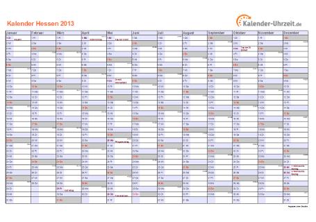 Hessen Kalender 2013 mit Feiertagen - quer-einseitig