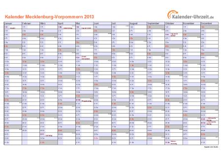 Meck.-Pomm. Kalender 2013 mit Feiertagen - quer-einseitig