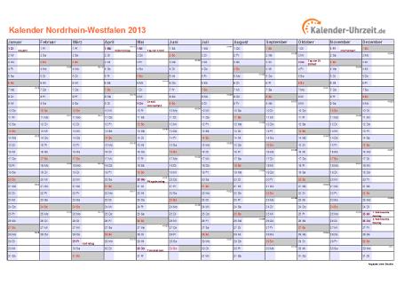 Nordrhein-Westfalen Kalender 2013 mit Feiertagen - quer-einseitig