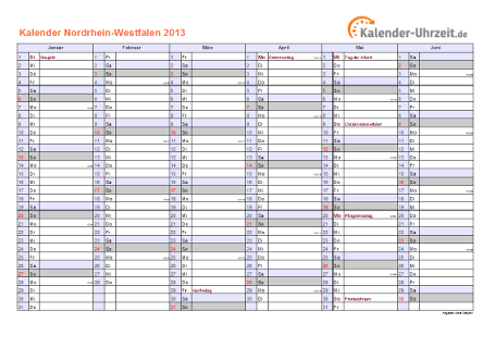 Nordrhein-Westfalen Kalender 2013 mit Feiertagen - quer-zweiseitig
