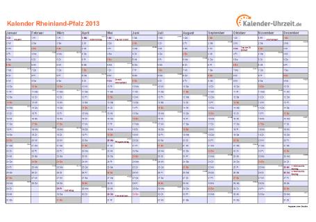 Rheinland-Pfalz Kalender 2013 mit Feiertagen - quer-einseitig