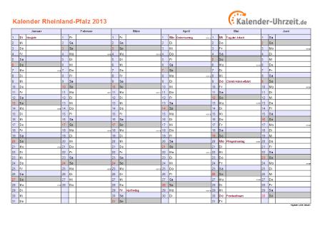 Rheinland-Pfalz Kalender 2013 mit Feiertagen - quer-zweiseitig