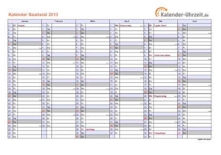 Saarland Kalender 2013 mit Feiertagen - quer-zweiseitig