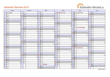 Sachsen Kalender 2013 mit Feiertagen - quer-zweiseitig