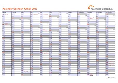 Sachsen-Anhalt Kalender 2013 mit Feiertagen - quer-einseitig