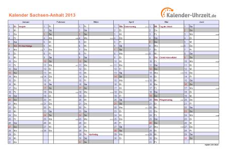 Sachsen-Anhalt Kalender 2013 mit Feiertagen - quer-zweiseitig