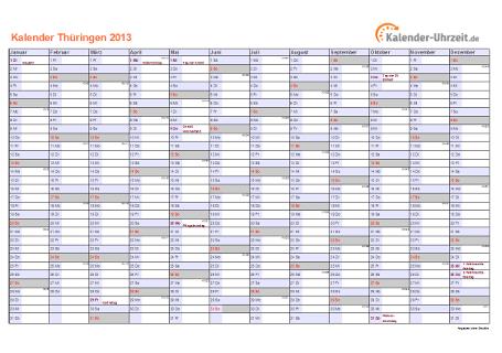 Thüringen Kalender 2013 mit Feiertagen - quer-einseitig