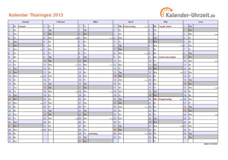 Thüringen Kalender 2013 mit Feiertagen - quer-zweiseitig