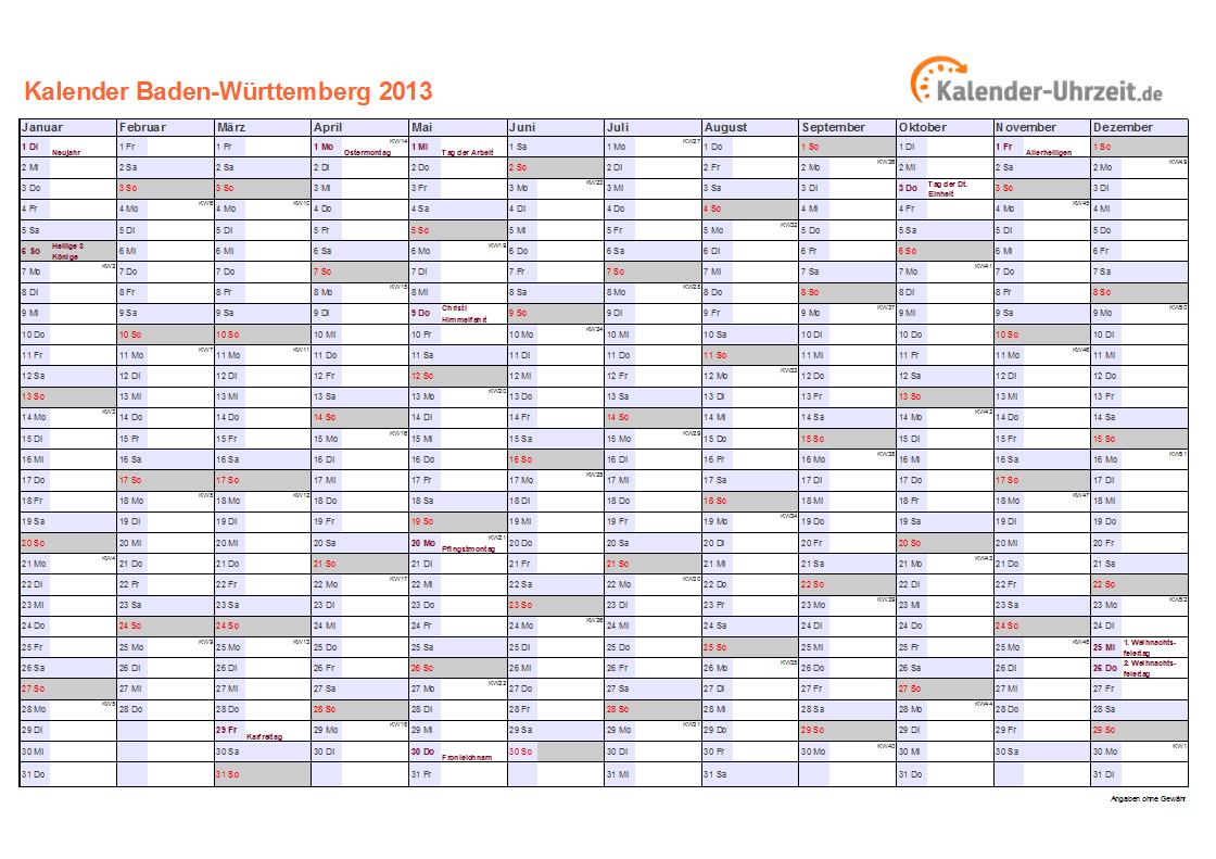 Feiertage 2013 Baden Württemberg Kalender