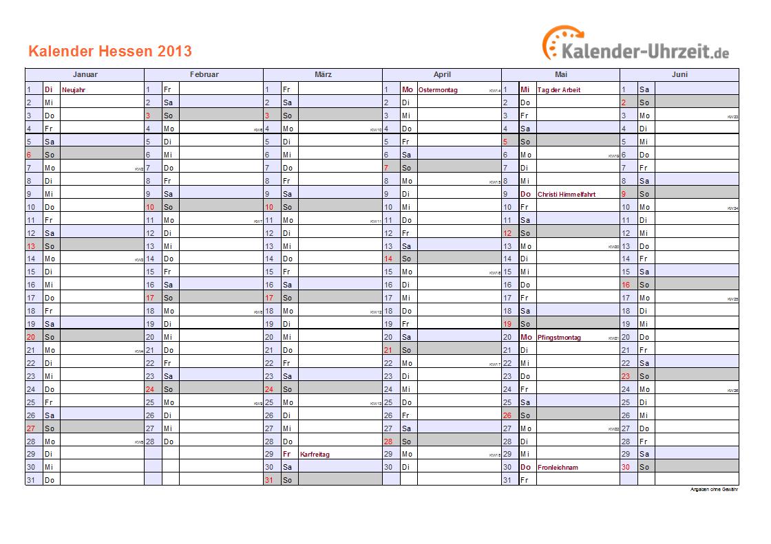 Hessen kalender 2013 mit feiertagen quer zweiseitig