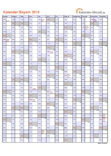 Bayern Kalender 2014 mit Feiertagen - hoch-einseitig