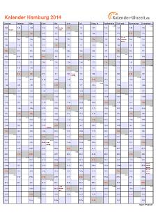 Hamburg Kalender 2014 mit Feiertagen - hoch-einseitig