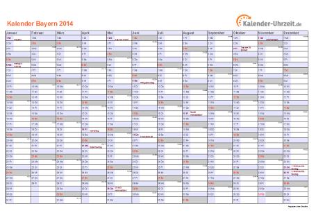 Bayern Kalender 2014 mit Feiertagen - quer-einseitig