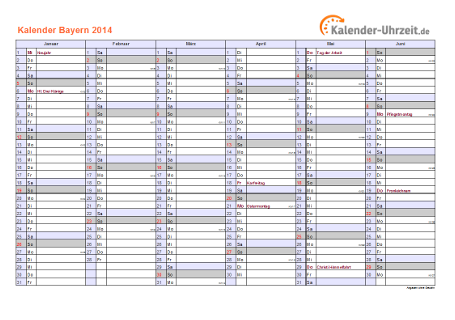 Bayern Kalender 2014 mit Feiertagen - quer-zweiseitig