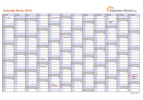 Berlin Kalender 2014 mit Feiertagen - quer-einseitig