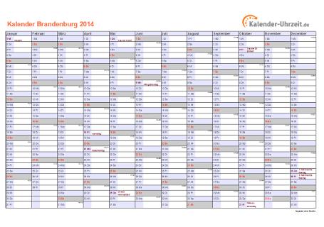 Brandenburg Kalender 2014 mit Feiertagen - quer-einseitig