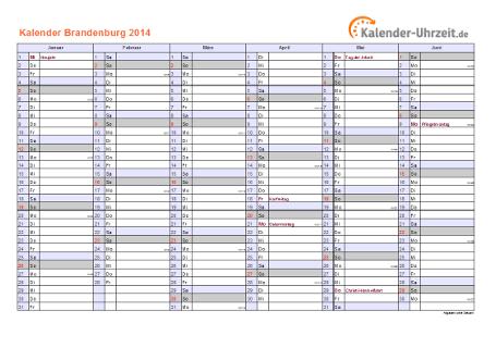 Brandenburg Kalender 2014 mit Feiertagen - quer-zweiseitig