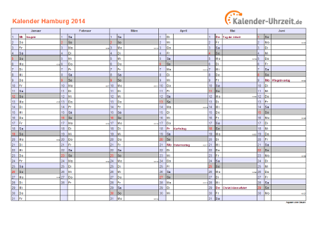 Hamburg Kalender 2014 mit Feiertagen - quer-zweiseitig