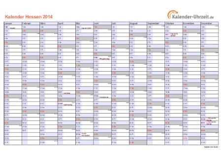 Hessen Kalender 2014 mit Feiertagen - quer-einseitig