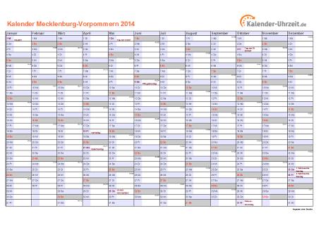 Meck.-Pomm. Kalender 2014 mit Feiertagen - quer-einseitig