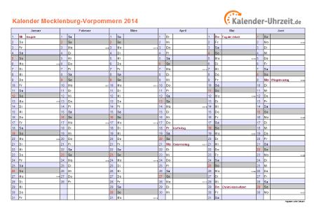 Meck.-Pomm. Kalender 2014 mit Feiertagen - quer-zweiseitig