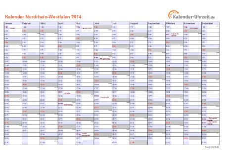 Nordrhein-Westfalen Kalender 2014 mit Feiertagen - quer-einseitig