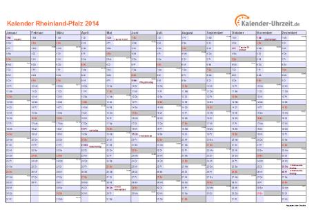 Rheinland-Pfalz Kalender 2014 mit Feiertagen - quer-einseitig