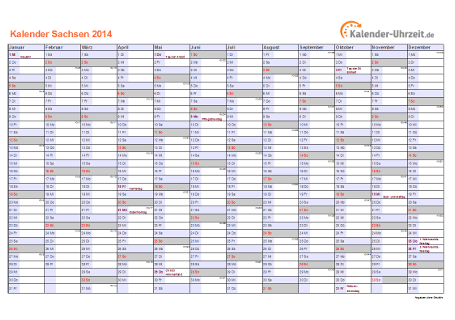 Sachsen Kalender 2014 mit Feiertagen - quer-einseitig