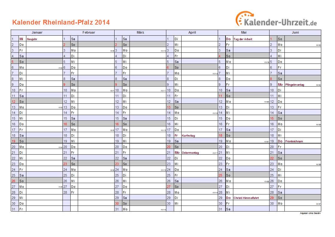 Feiertage 2014 Rheinland-Pfalz + Kalender