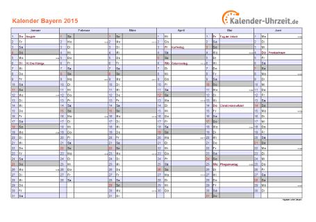 Bayern Kalender 2015 mit Feiertagen - quer-zweiseitig
