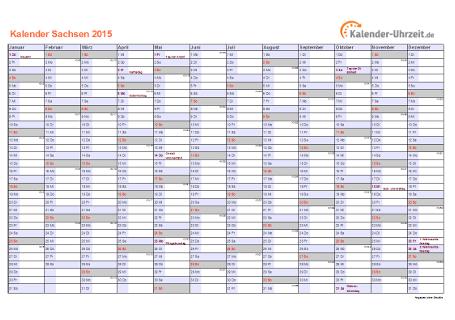 Sachsen Kalender 2015 mit Feiertagen - quer-einseitig