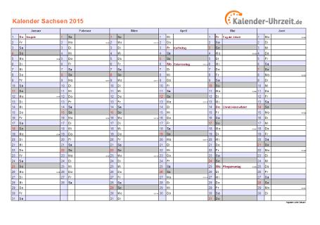 Sachsen Kalender 2015 mit Feiertagen - quer-zweiseitig
