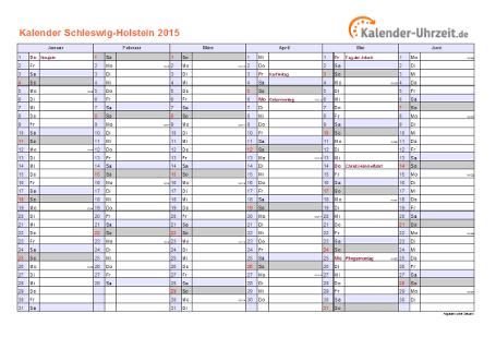 Schleswig-Holstein Kalender 2015 mit Feiertagen - quer-zweiseitig