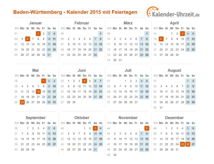 Feiertage 2015 Baden Württemberg Kalender