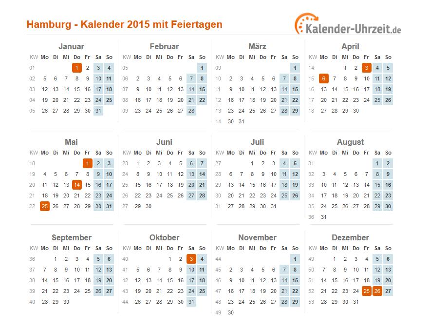 Feiertage 2015 Hamburg Kalender