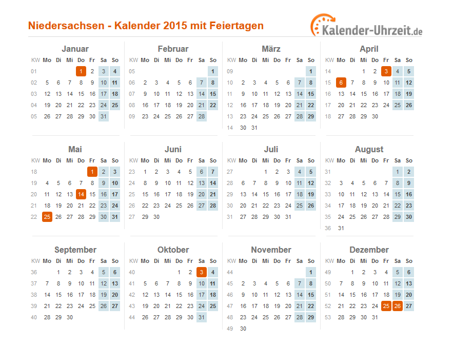 feiertage 2015 niedersachsen   kalender