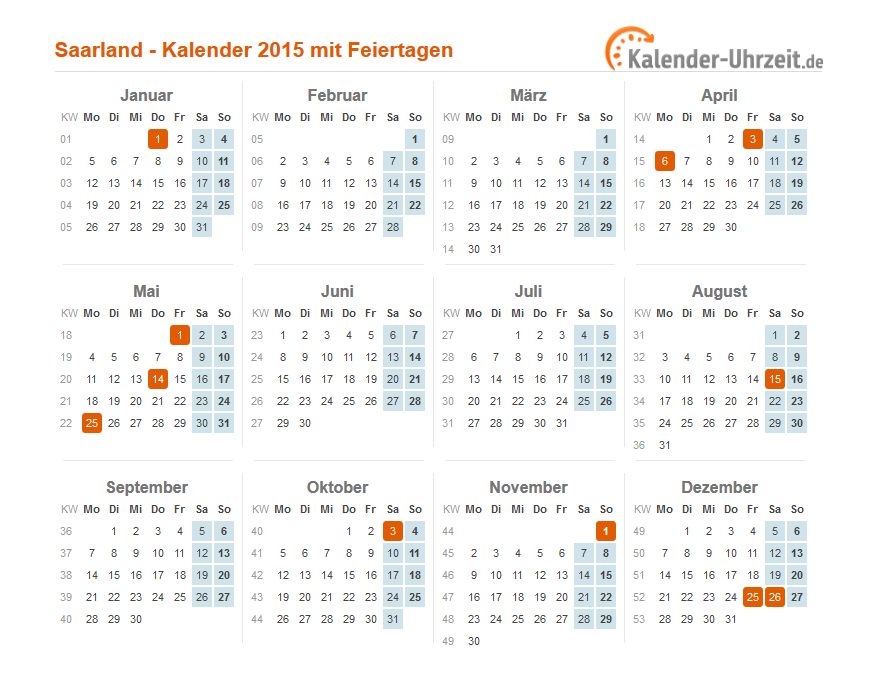 feiertage 2015 saarland kalender. Black Bedroom Furniture Sets. Home Design Ideas
