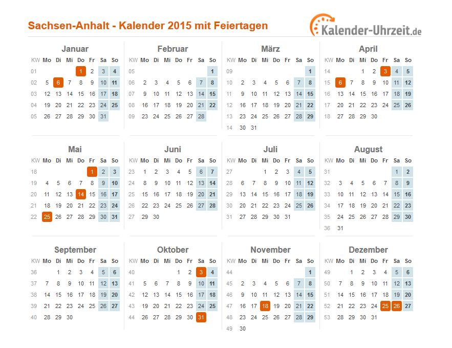 Feiertage 2015 Sachsen-Anhalt + Kalender