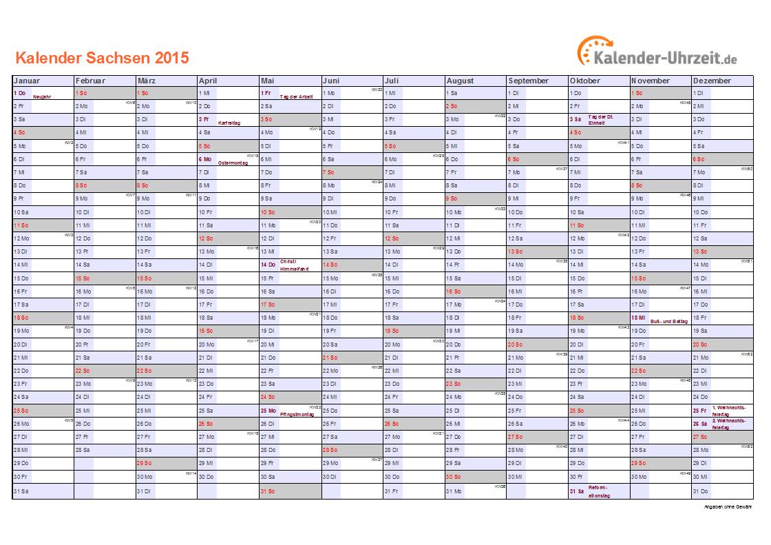Feiertage 2015 Sachsen Kalender