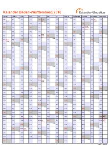 Baden-Württemberg Kalender 2016 mit Feiertagen - hoch-einseitig