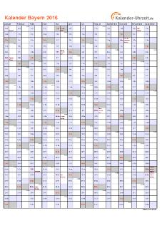 Bayern Kalender 2016 mit Feiertagen - hoch-einseitig