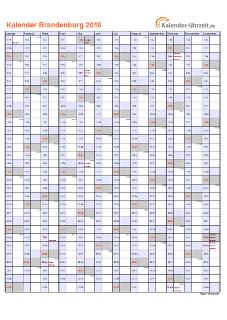 Brandenburg Kalender 2016 mit Feiertagen - hoch-einseitig