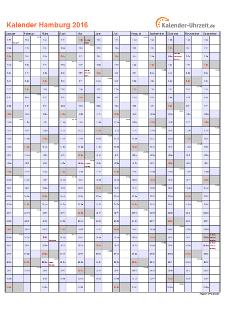 Hamburg Kalender 2016 mit Feiertagen - hoch-einseitig