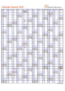 Hessen Kalender 2016 mit Feiertagen - hoch-einseitig